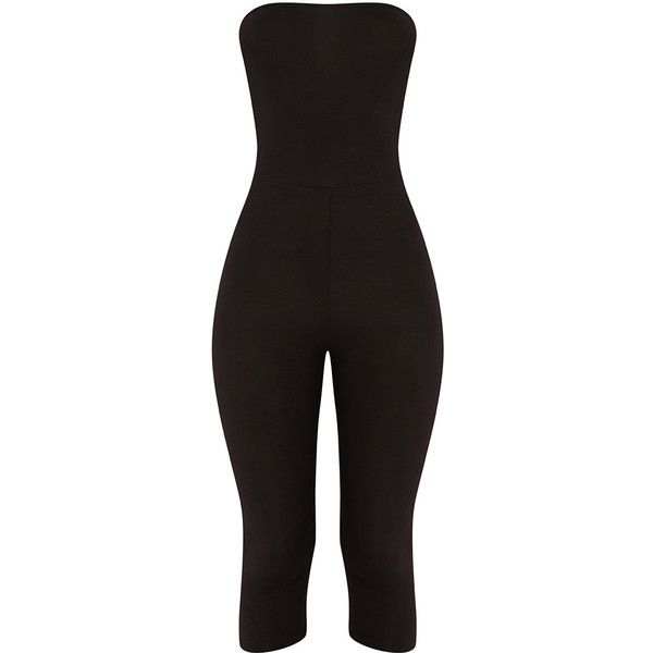 Kelli Black Bandeau Cropped Jumpsuit ($21) ❤ liked on Polyvore featuring jumpsuits, sexy jump suit, jump suit, cropped jumpsuit, bodycon jumpsuit and sexy bodycon jumpsuits