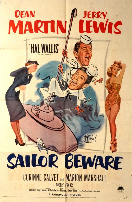 "SAILOR BEWARE.Original 1952 US 27""x41"" Movie Poster.Free Shipping. Dean Martin,Jerry Lewis,Corinne Calvet,James Dean(first Role uncredited) by ArtisticSoulStudio on Etsy"