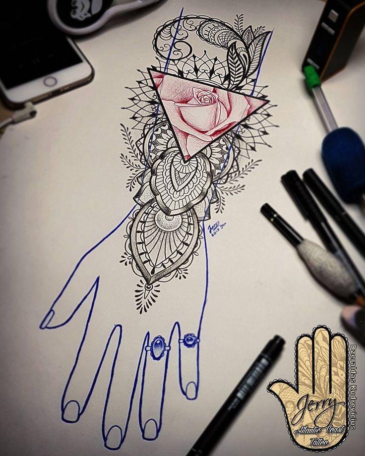 hand arm rose tattoo idea, tattoo design, rose, rose drawing, lace mandala tattoo