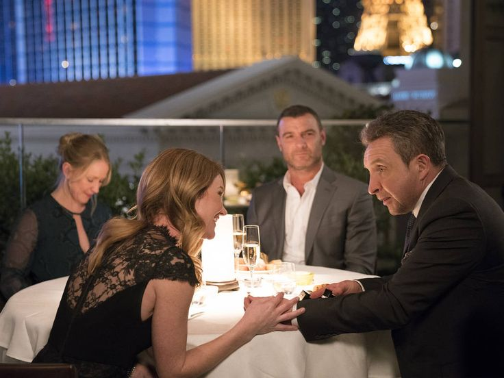 Paula Malcomson as Abby Donovan, Tara Buck as Maureen, Liev Schreiber as Ray Donovan and Eddie Marsan as Terry Donovan in Ray Donovan. Michael Desmond Showtime