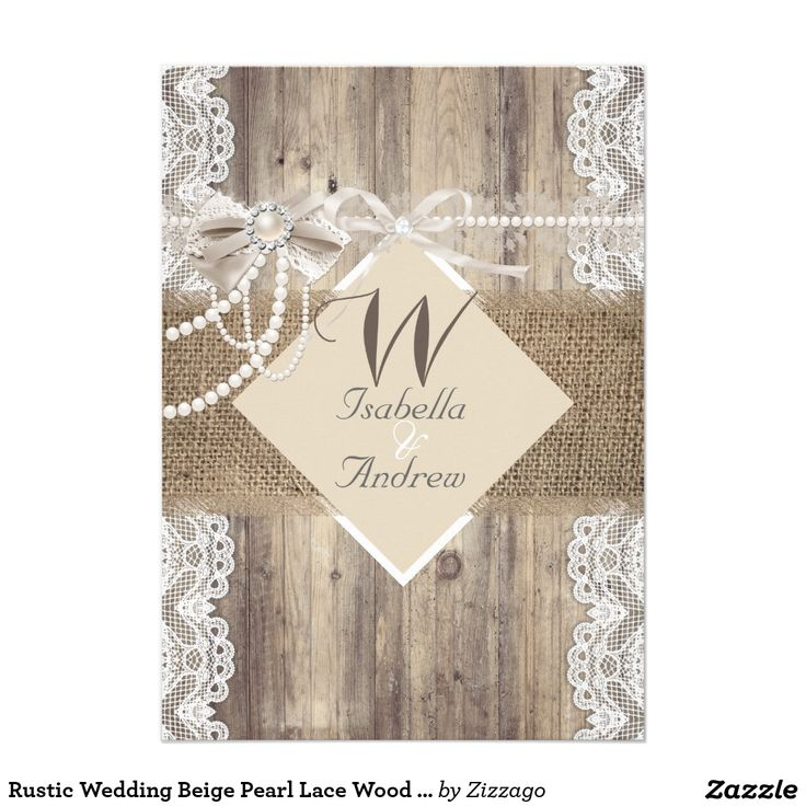 zazzle wedding invitations promo code%0A Rustic Wedding Beige Pearl Lace Wood Burlap Card