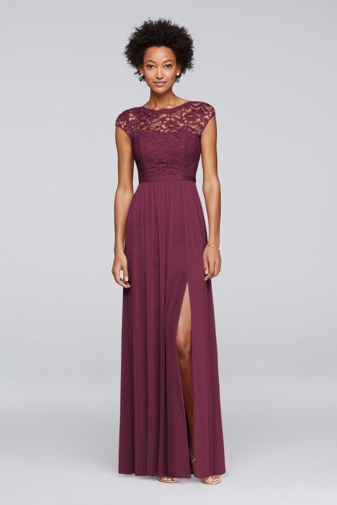 Extra Length Lace Long Bridesmaid Dress with Ribbon Waist - Wine (Red), 10