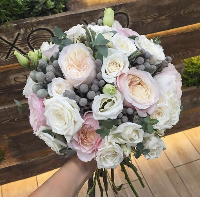 A gentle bouquet of the bride. Rose of the Keyra. Garden and pion shaped Roses.
