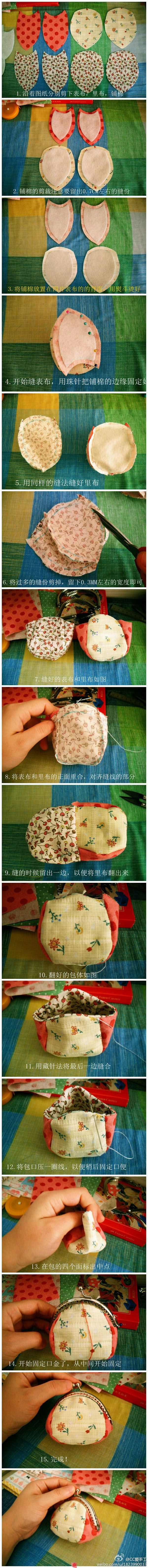 DIY How to sew a Clutch Purse with Clasp TUTORIAL  Monederos con boquilla