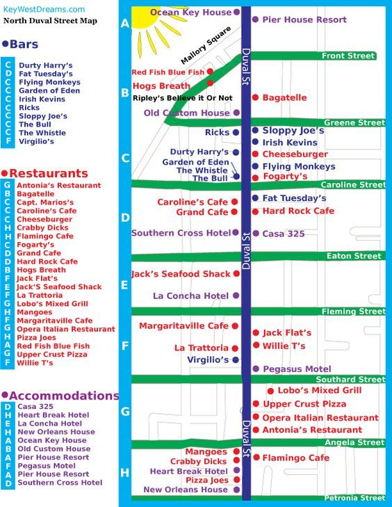 Map Key West Florida.Key West Street Map Prep For Our Duval Crawl Expierence Key