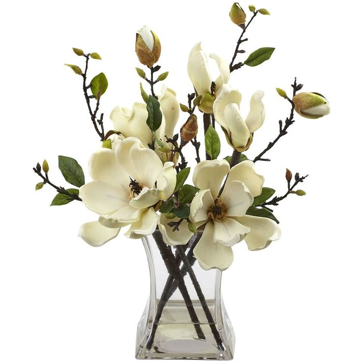 Faux flowers for dining table or sideboard, but you can find these less expensive at Marshalls/Home Goods/TJMAxx . Faux Magnolia Arrangement with Vase