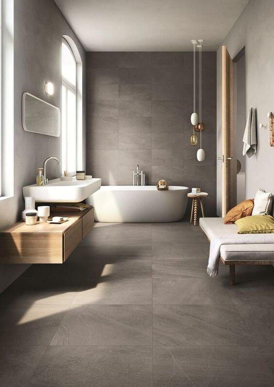 Modern bathrooms create a simplistic and clean feeling. In order to design your bathroom ideas make sure to utilize geometric shapes and patterns, clean lines, minimal colors and mid-century furniture. Your bathroom can effortlessly become a modern sanctuary for cleanliness and comfort.