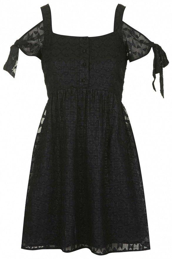 Topshop Burnout Cold Shoulder Dress in Black
