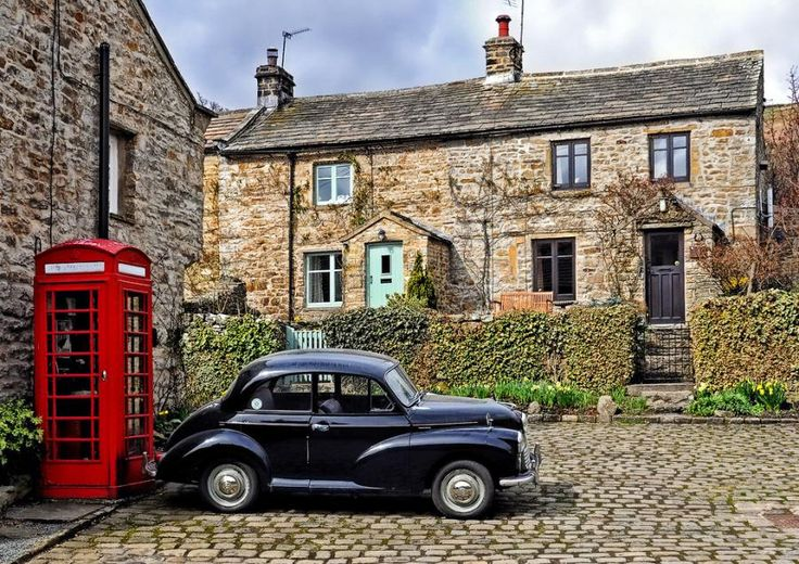 Love everything about this picture.England, First Cars, Morris Minor, Vintage Cars, British, English Cottages, Wall Prints, English Languages, Phones Boxes