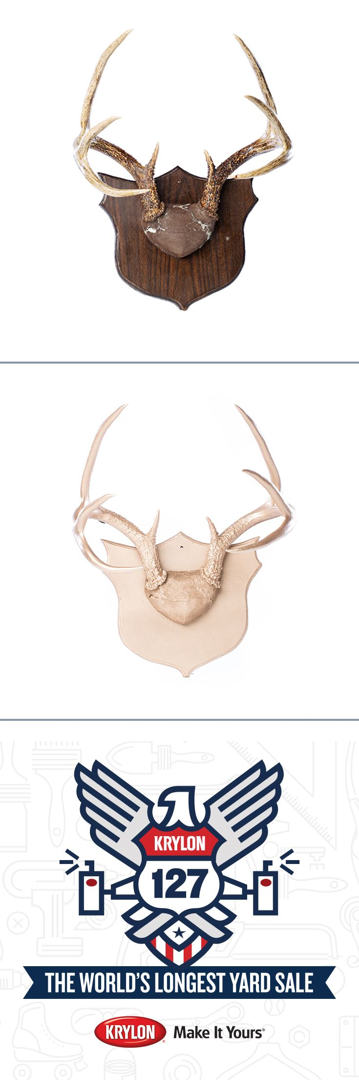 Looking For A Way To Add Some Metallic Glamour To Your Home Décor? Spruce  Up A Set Of Mounted Deer Antlers With A Coat Of Krylon Metallic Gold.