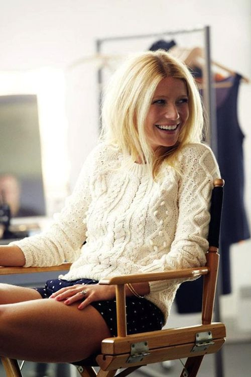 Gwyneth in a fisherman sweater.