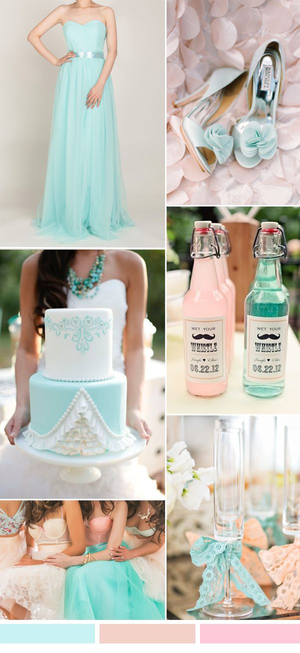 mint blue wedding color ideas and tulle bridesmaid dresses long