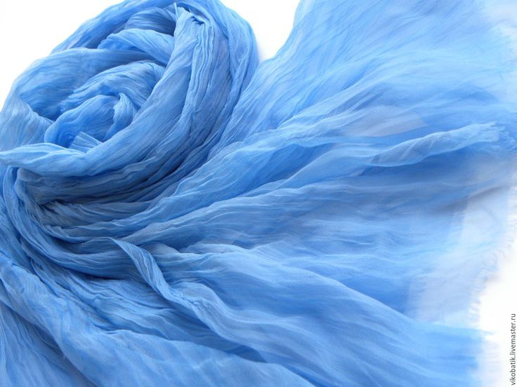 Купить Бохо палантин батик шелковый Denim воздушно-голубой шифон 100% - палантин голубой