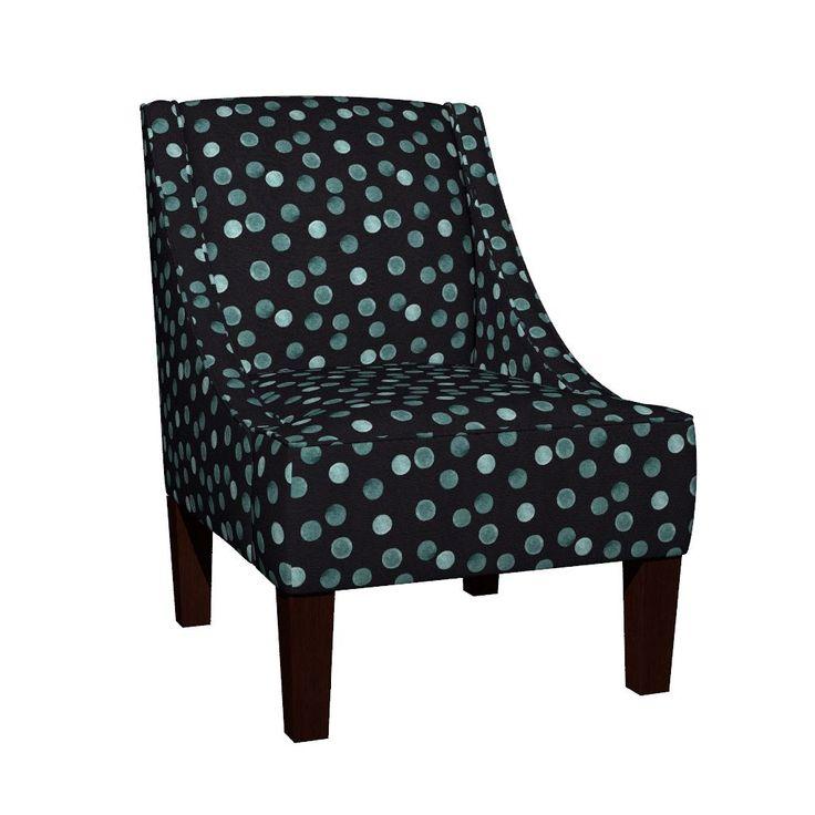 Венда наклонным креслом в синий горошек на черном фоне . по fuzzyfox | Roostery Home Decor