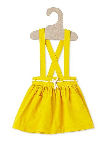 Jupe évasée à bretelles jaune Petite fille