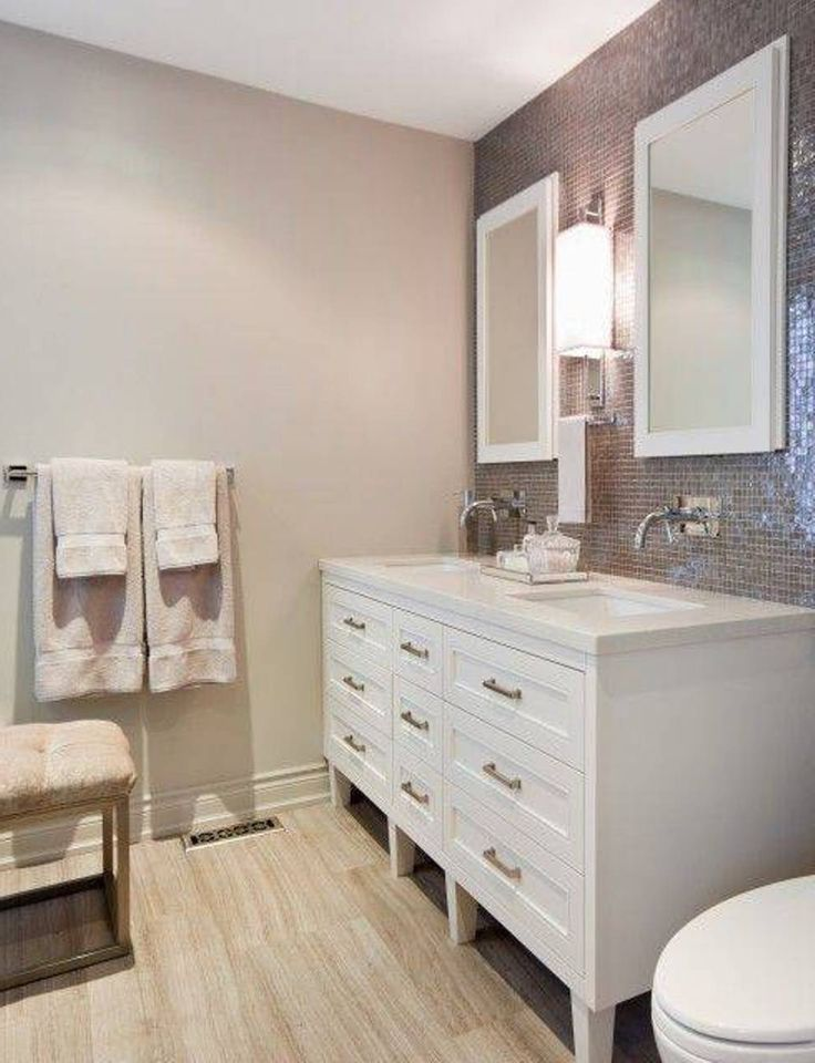 Bathroom , Timeless White Bathroom Vanity : White Bathroom Vanity With Sinks And Wall Mounted Faucets