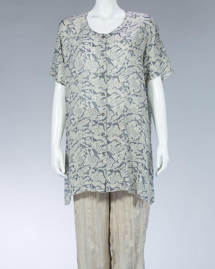 Animale long shirt with plants motif - beige #WomenSkirt #Dress #SummerFashion #Animale #WomenWear #WomenFashion #MotifClothes #LightClothes