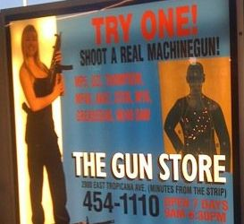 Advertising gun rental at the airport, inside of security can't be a good idea. Especially for machineguns. ;> Would you agree this could only happen in America?