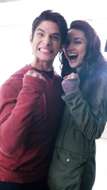 Scott McCall (Tyler Posey) and Allison Argent (Crystal Reed) on the set of Teen Wolf.