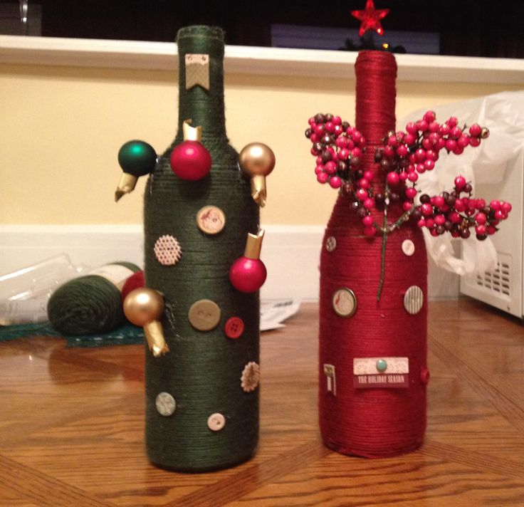 Christmas decorations wine bottles and decoration on for How to decorate a wine bottle for a gift