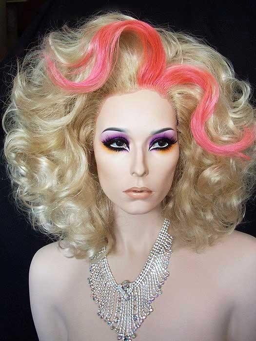 Nicki Minaj Inspired Drag Queen Wig in blonde and pink.