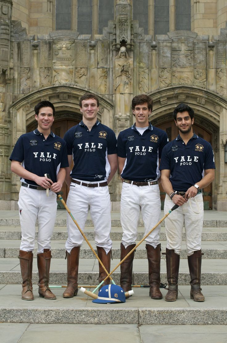 "Yale Polo team. ""Ever since I was a lad no higher than a Thoroughbred's knee-knob, I knew I was destined for the polo field. Riding the horse. Swinging the mallet. That is the life for me!"""