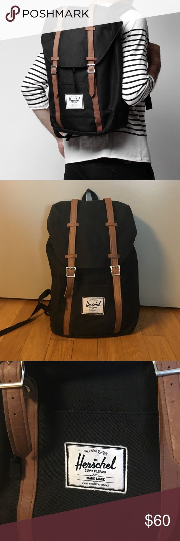 Hershel Retreat Backpack Black backpack with brown leather straps. Used a few times but in great condition. Very roomy interior with laptop slot. Hershel Bags Backpacks