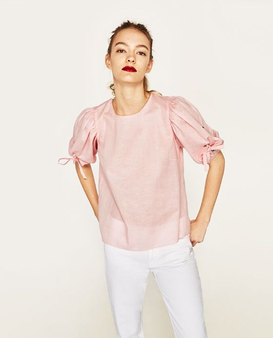 Image 2 of LINEN SHIRT WITH BOWS from Zara