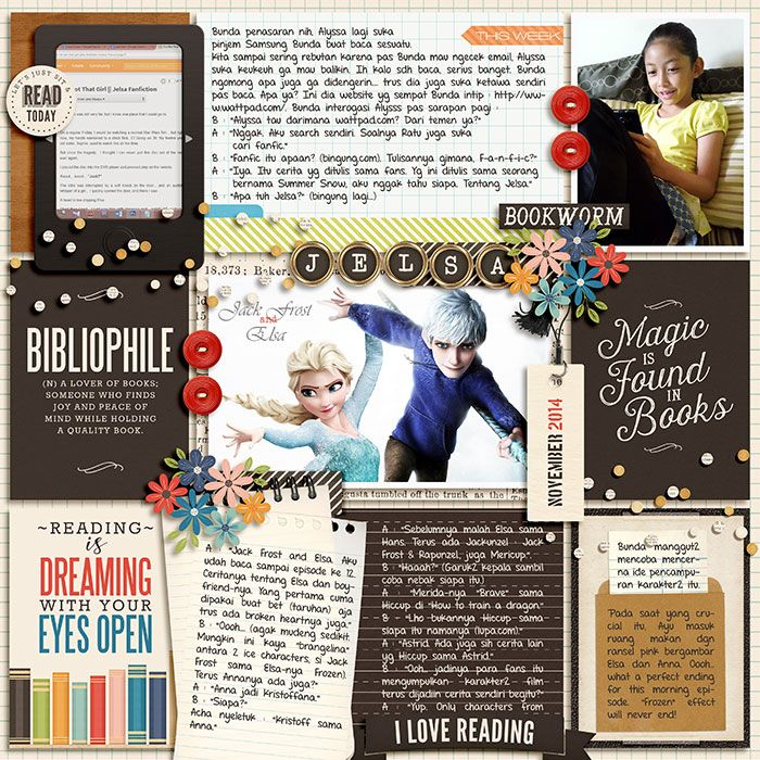 November 2014 : Jelsa. Bibliophile by Kristin Cronin-Barrow. 365 Unscripted : Stitched Grids 2 by Traci Reed.