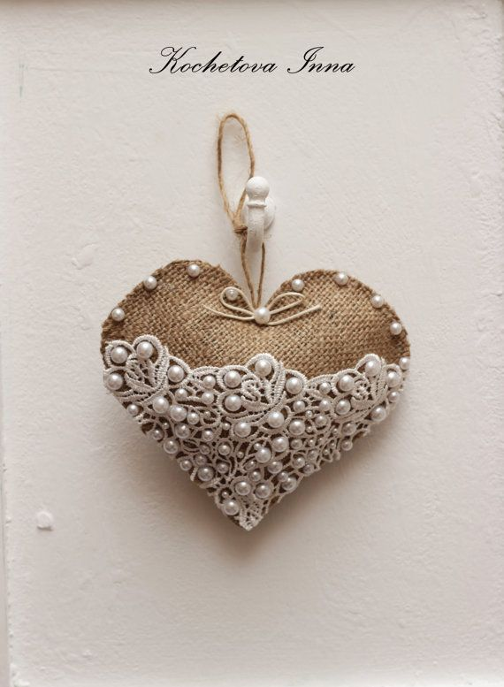 Burlap lace heart ornaments Home decor ornaments by ByKochetova