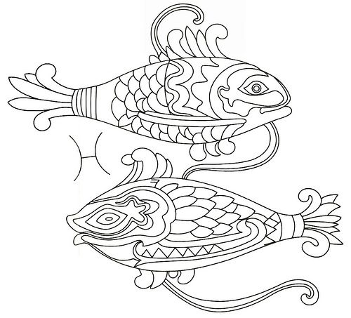 pisces zodiac embroidery coloring page