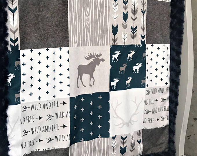 Mountain Minky Baby Blanket Lumberjack Blanket Faux Quilt Mountain Arrow Bear Woodland Toddler Blanket Twin Blanket