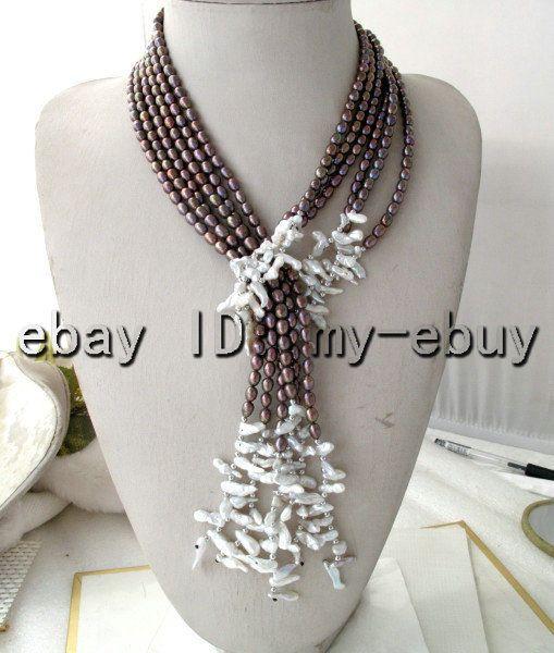 3 hebras púrpura Marrón Arroz Blanco Perla Y Arco Iris Pétalo Keshi Keishi Collar De Perlas   Joyería y relojes, Joyas de moda, Collares y dijes   eBay!