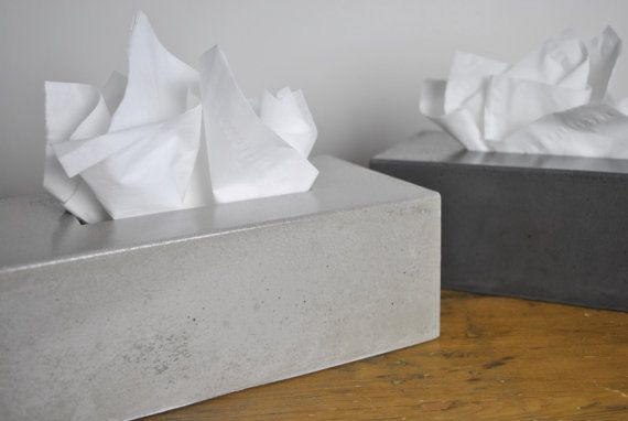 Concrete Tissue Box Cover by fmcdesign on Etsy