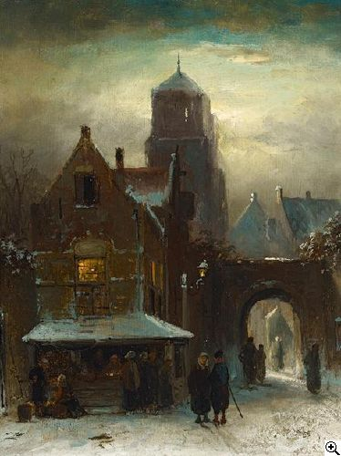Charles Leickert - Winters stadsgezicht met kraam (2)