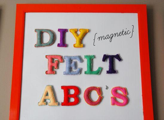 DIY magnetic felt ABCs: Felt Abc, Crafts Ideas, Christmas Gifts Ideas, Diy Magnets, Diy Felt, Diy Tutorial, Cute Ideas, Felt Letters, Magnets Felt