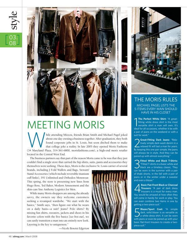 Page from St. Louis Magazine's Style section. Magazine layout - magazine spreads - editorial