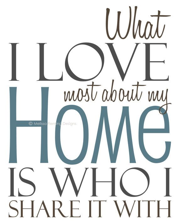 8x10 art print / What I love most about my home (Blue)  by Melissa Fleming Designs