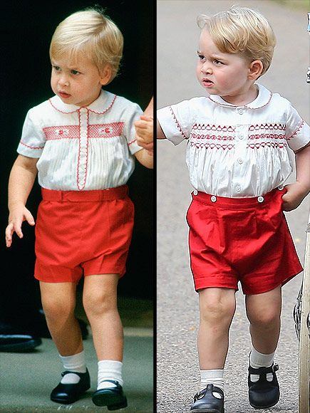 Prince George Wears Same Outfit as Prince William at Charlotte's Christening on July 5, 2015.