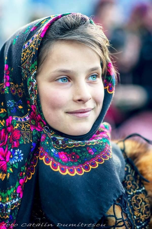 Romanian girl with traditional scarf