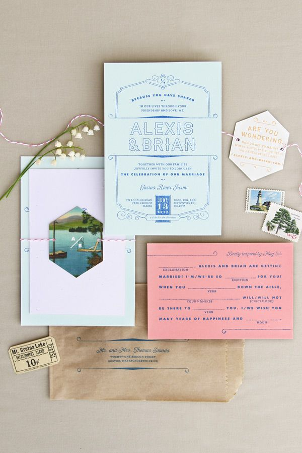 Wes Anderson inspired wedding invitation with vintage Maine postcard; pale blue and coral paper; Mad Libs RSVP postcard and custom rubber stamping