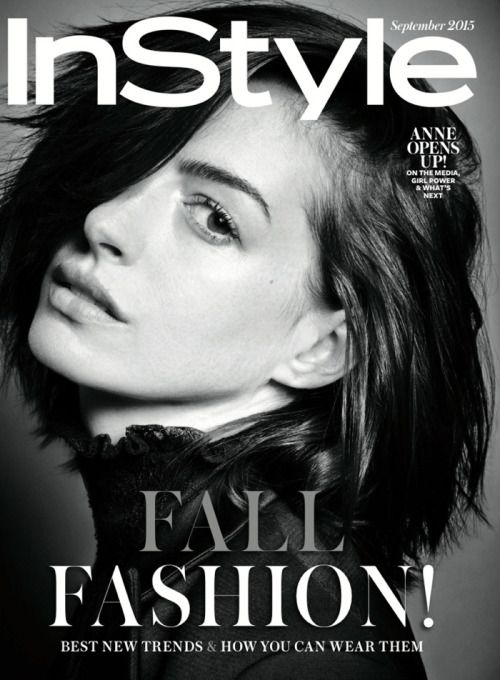 Magazine cover beautiful face profile in monochrome photo of anne hathaway for the september 2015