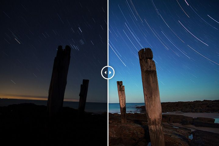 Before and after of a star trail photo at Wye River with a bonus headache inducing video.