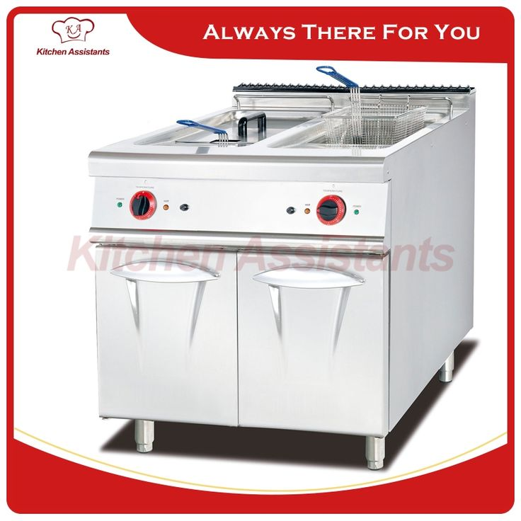 (884.00$)  Watch more here  - EH785 56L Electric fryer with 2 tank 2 basket with cabinet