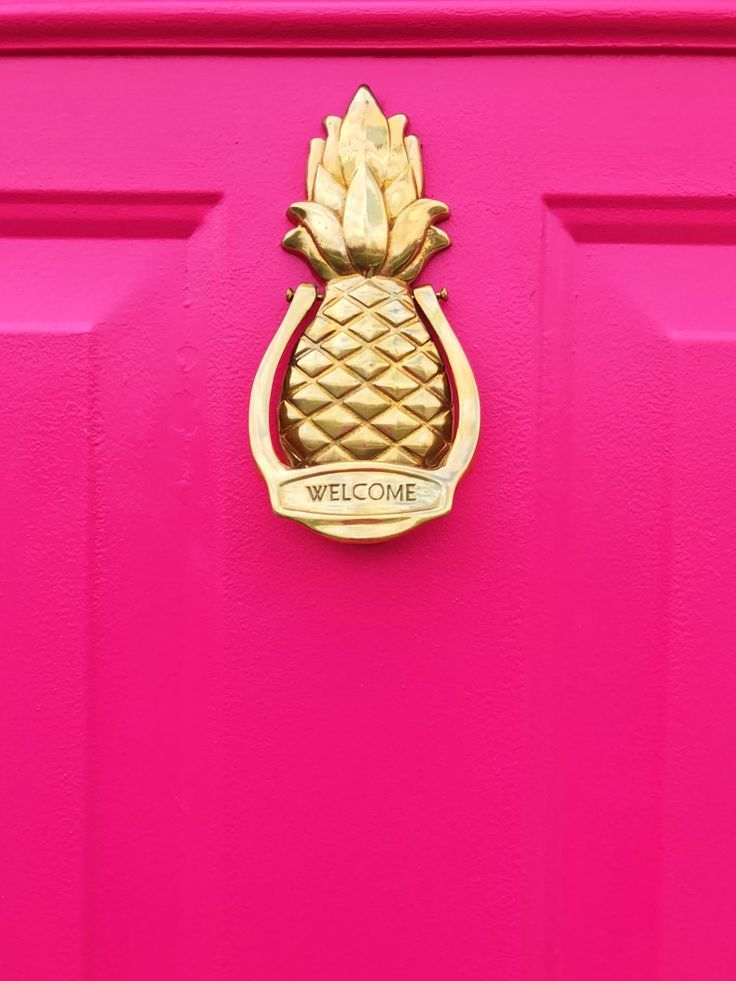 Hot Pink Door with Gold Pineapple Door Knocker. The vintage pineapple door knocker was is perfection! This door looks amazing after a few coats of Behr Exterior Paint In Pagoda. It's an amazing shade of fuschia​.  See the before and after at ericahammer.com