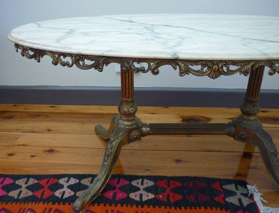 Vintage Marble Occasional Table. Italian White Marble Coffee Table With  Brass Legs. Retro Side