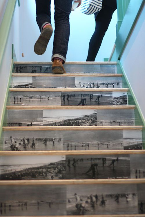 Inspiration for a staircase. Mod Podge copies of favorite photos on the risers. The possibilities are endless!