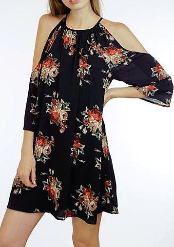 Zara's Floral Cold Shoulder Shift Dress by Veronica M