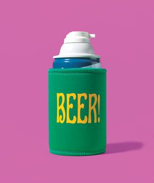 Beer Koozie as Shaving-Cream Holder makes it easy to hold on to
