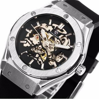 2016 New Men's Military Sport Automatic Mechanical Watches Skeleton Dial Wrist Watches Silicone Band Relogio masculino Gift +BOX